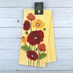 kitchen towel flowers poppies yellow terry cloth