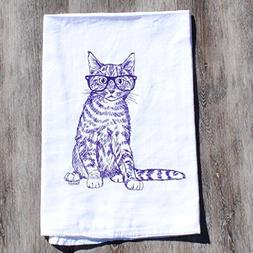 Kitchen Towel Hand Screen Printed Purple Hipster Cat Flour S