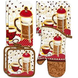 Kitchen Towel Linen Set of 7 Pieces Coffee Tea Themed Design