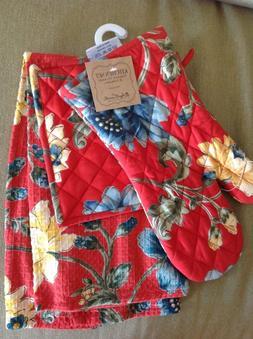 APRIL CORNELL KITCHEN TOWEL POT HOLDER OVEN MITT RED BLUE 10