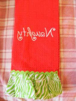 Kitchen towel satin embroidery NAUGHTY red cotton loop to ha