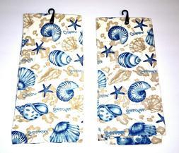 Kitchen Towel Set 2 Seashells Starfish Ocean Beach Seaside B
