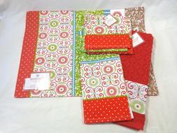 KITCHEN TOWEL SET 2 Towels 2 Dishcloths One Place Mat RED Gr