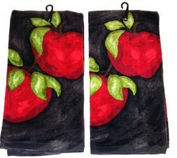 Kitchen Towel Set Apple Decor Ritz Cotton Red Green Brown Co
