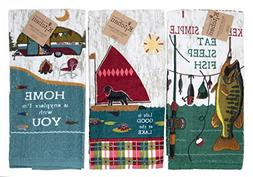 Kay Dee Design Kitchen Towel 3pc Set Fun Fishing Camping Out