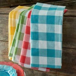 KITCHEN TOWEL SET Table Linens Checkered Multi-Color Dish To
