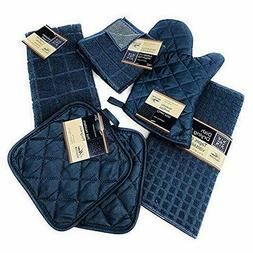 Kitchen Towel Set with 2 Quilted Pot Holders, Oven Mitt, Dis
