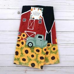 Kitchen Towel Sunflower Barn Truck Farm Terry Cloth