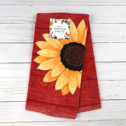 Kitchen Towel Sunflower Woodgrain Terry Cloth