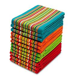 Kitchen Towels 16x28 Inches- 100%  12 Pack Salsa Stripe Mult