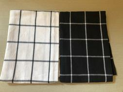 ALL CLAD  KITCHEN TOWELS  BLACK  WHITE WINDOWPANE  COTTON 21