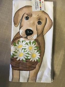 RITZ  KITCHEN  TOWELS  GOLDEN LAB DOG FLOWERS  100% COTTON