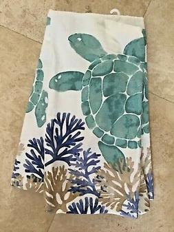 RITZ KITCHEN TOWELS   TURTLES BLUE KHAKI WHITE 100% COTTON