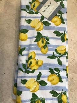 TRULY LOU KITCHEN TOWELS WHITE  YELLOW LEMONS  TERRY LINED 100/% COTTON NIP 2