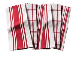 KAF Home Kitchen Towels, Set of 6, Cherry & White, 100% Cott