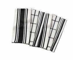 KAF Home Kitchen Towels,  Set of 6, Black & White, 100% Cott