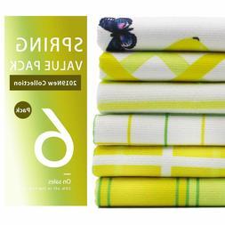Kitchen Towels and Dishcloths Set of 6, Decorative Lemon Dis