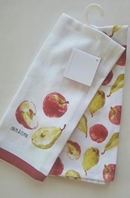 Envogue Set of 2 Kitchen Towels Apples and Pears Fruit Print