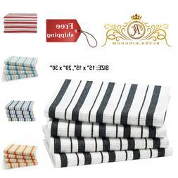 Kitchen Towels Basket Weave Cotton Striped Hanging Loop Low
