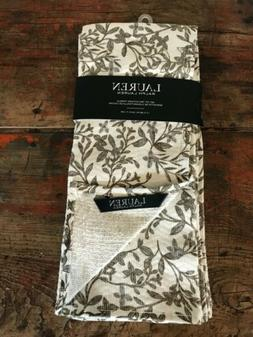 Ralph Lauren Kitchen Towels Botanical Leaves Taupe Gray Whit