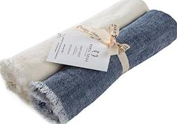 Set of 2 Linen Kitchen Towels Dish Cloth Stone Washed Towels