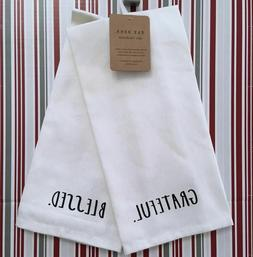 Rae Dunn ~ Kitchen Towels ~ GRATEFUL & BLESSED ~ Set of 2 ~