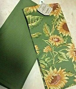 APRIL CORNELL  KITCHEN  TOWELS GREEN YELLOW GOLD SUNFLOWERS