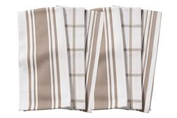 KAF Home Kitchen Towels, Set of 6, Taupe & White, 100% Cotto