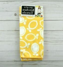 Ritz Kitchen Towels Microfiber Set of 2 Lemons Geometric Yel