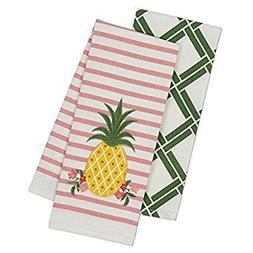 Set of 2 Kitchen Towels - One Embroidered Pineapple, One Gre