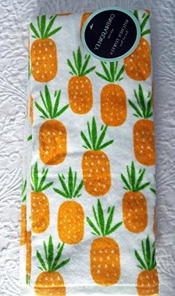 Cynthia Rowley set of 2 Kitchen Towels Pineapples Cotton