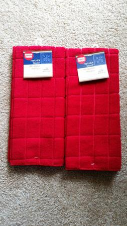 Kitchen Towels RED 4 EACH 15x25 Extra Heavy Weight Bar Mop R