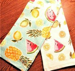 """Kitchen Towels, Set of 2, 26"""" x 16.5"""", Fruit, lemon, lime, p"""