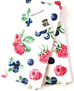 "Kitchen Towels Set of 2 KitchenAid dish hand 16x26"" ~ Raspbe"