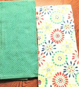 "Kitchen Towels set of 2 dish hand 16.5"" x 26"" Teal Green & M"