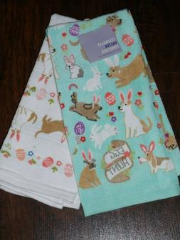 CELEBRATE EASTER TOGETHER KITCHEN TOWELS SET OF 2 DOGS & BUN