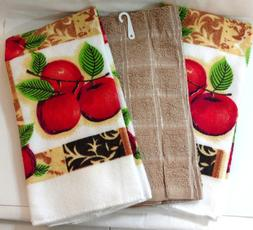 Kitchen Towels Set of 3 Apple Country Farm Home Red Green Be