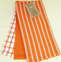 """Kitchen Towels Set Of 3 dish hand cotton 20"""" x 28"""" Orange St"""