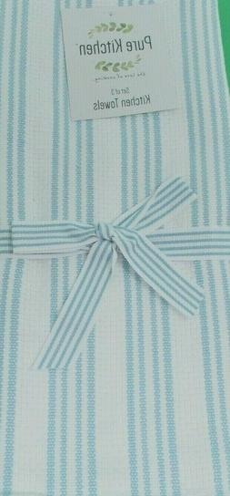 """Kitchen Towels Set of 3 dish hand 18x28"""" - Light Blue & Whit"""