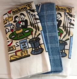 Kitchen Towels Set of 3 Table For Two Fondue Blue Green Red