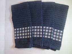 KITCHEN TOWELS SET OF 4 - 100% COTTON - DARK BLUE COLOR - SI