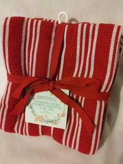 "Kitchen Towels Size 18"" x 28"" 100% Cotton Red Striped"