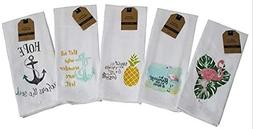 Kitchen Towels Set of 5 Summer Nautical Designs 16 x 28 100%