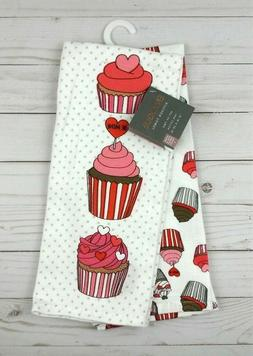 Envogue Kitchen Towels Valentines Day Cupcakes Set of 2 Be M