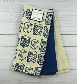 Kitchen Towels Vintage Canisters Set of 3 Blue Ivory