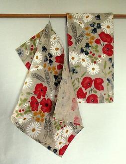 Kitchen Towels Washed Linen Cotton Daisies Poppies Cornflowe