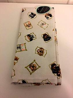 Cynthia Rowley set of 2 kitchen towels white with dog wearin