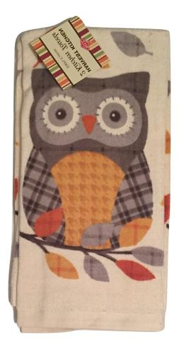 Ritz Kitchen Towels Woodland Owl with Leaves Set of 2
