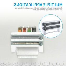 Kitchen Triple Roll Dispenser Wall-Mount Cling Film Tin Foil
