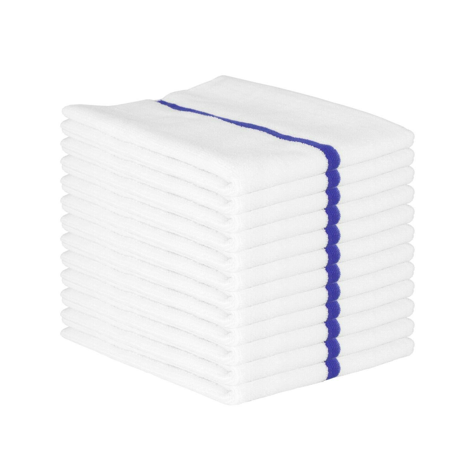 12 Pack of Microfiber Bar Mop Cleaning Towels 15 x 18 Stripe